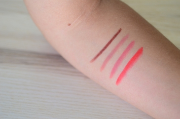 NYX lip liners . swatches